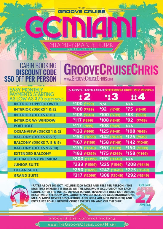 Payment Plans For Groove Cruise Miami Starting At - Miami cruise month