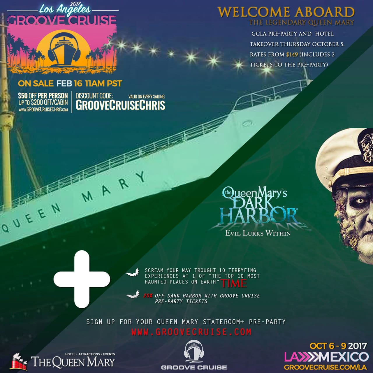 gcla pre-party and queen mary's dark harbor | groove cruise chris